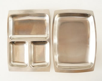 Vintage Selandia Stainless Steel Serving Trays (c.1960s) - Danish Modern Trays, Metal Buffet Table Trays