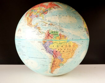 "Vintage Replogle ""Mark of the Master"" World Globe with Blue Oceans, 12"" diameter (c.1958) - Hard to Find Collectible, Home Decor"