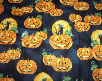 Halloween Black Cats & Pumpkins Fabric Cotton New  BTFQ