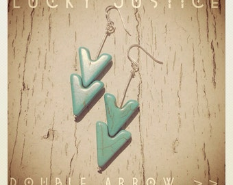 Double Arrow-Sterling Silver and Turquoise Chevron Earrings