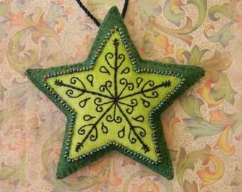 fern green embroidered felt star ornament