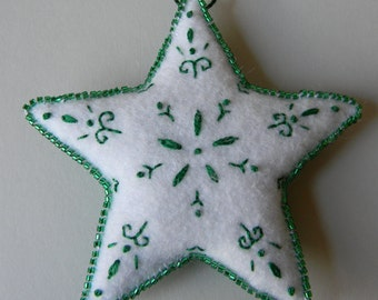 green and white Christmas star ornament