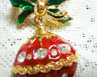 Vintage Rhinestone Dangling Christmas Tree Ball Brooch