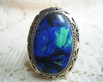 Vtg. 925 Sterling Texco Adjustable Ring Mexico Large Stone signed Salinas A Must Have