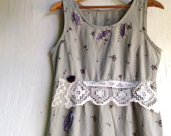 SALE gray rustic  plum fashion, long  upcycled linen, eco friendly, vintage lace, shabby fashion, prairie style dress