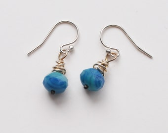 Wire wrapped sterling silver and blue glass bead earrings