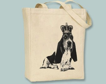 Royal Basset Hound on Canvas Tote -- Selection of sizes available