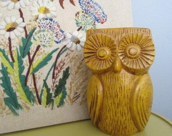 1970 Mid Century Modern mustard yellow Pottery Owl Statue Figurine Bank
