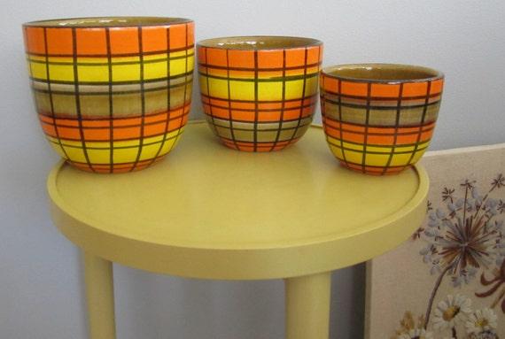 Mid-Century Modern Danish Tuscan vintage 60-70's  striped Decorative Vase Serving BowL set of 3