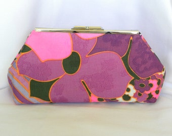 Clutch Bag - Vintage Pink and Purple Mod Flowers and Stripes