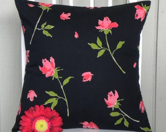 16 x 16 Pillow Cover - Vintage Pink Long Stem Roses on Black