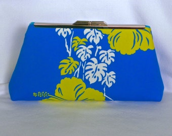 Clutch Bag - Vintage Azure Blue, White and Neon Yellow Hibiscus