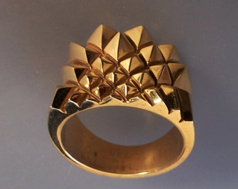 RING :  Art Deco Style  Architectural Giometrical Motive Ring in 18K Gold Filled Brass