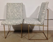 HOLD FOR EMILY Milo Baughman Side Chairs with Metal Base Newly Upholstered in Hable Construction Fabric