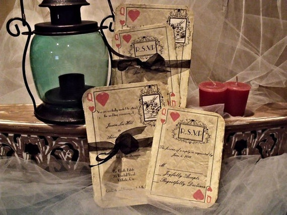 Alice In Wonderland wedding invitation playing card / Fairy tale wedding