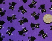 Halloween Fabric, Black Cat Fabric, Halloween Cat Fabric, Spooky Fabric, Fabric by the Yard, Custom Cuts Available, See Details