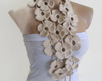 Beige scarf,  crochet flower patterns, Lariat scarf , hand-made,fashion,gift, mothers day,unique