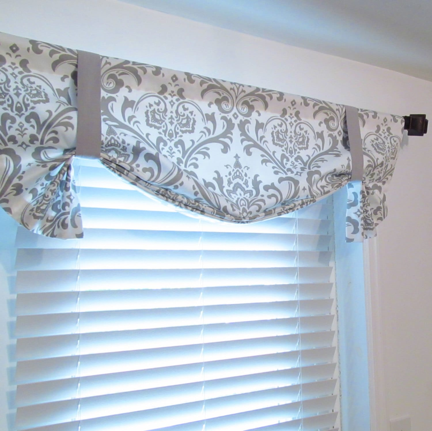 tie up valance lined curtain storm gray white damask custom. Black Bedroom Furniture Sets. Home Design Ideas