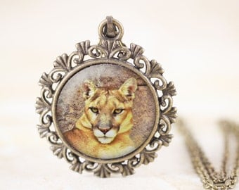 Cougar Necklace - Mountain Lion Jewelry, Wild Cat Jewelry, Wildlife Photography Jewellery, Cougar Jewelry, Puma Pendant, Cougar Pendant