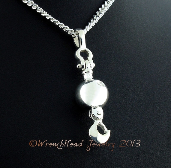 Sterling silver crane ball and hook pendant cw chain like this item mozeypictures Choice Image
