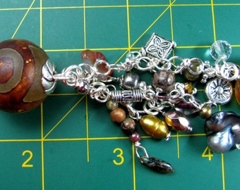 Keychain - Tibetan Bead with Silver and Earthtone Beads (K-113)