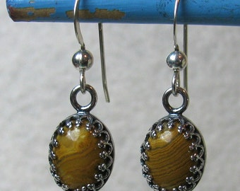 Price Reduced!!! Earrings - Yellow Crazy Lace Agate in Sterling (E-143)
