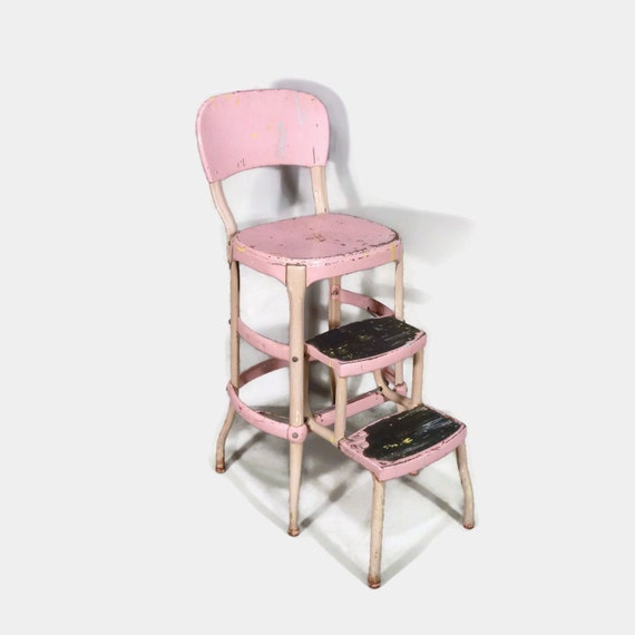 Pink Cosco Step Stool Chair Mid Century