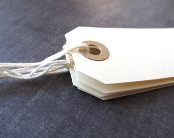 Cream Tags with Kraft Reinforced Holes, Prestrung, Manila Tags, Gift Tags, Party Favor Tags, Weddings, Showers, Set of 20