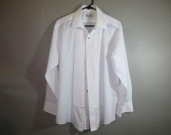 Tux Shirt // Tuxedo Shirt // Dressy. Formal // Pin Tuck Front // Wedding, Prom...Lg