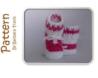 Crochet Pattern Tennis Shoe Baby Bootie PDF 3 sizes, Newborn, 0-3 month, 3-6 months
