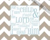 For This Child I Prayed, Cafe mount print, Shower gift, Nursery Art, Scripture Art, Chevron art, kids room, Nursery decor, chevron nursery