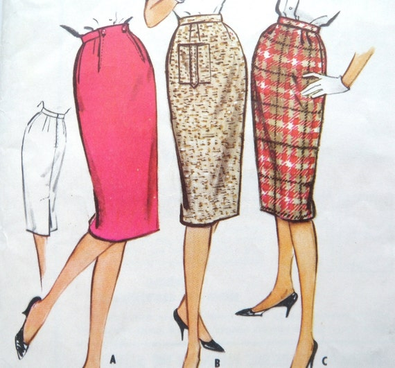 wiggle skirt pattern 1959 mad style kick pleat mccalls