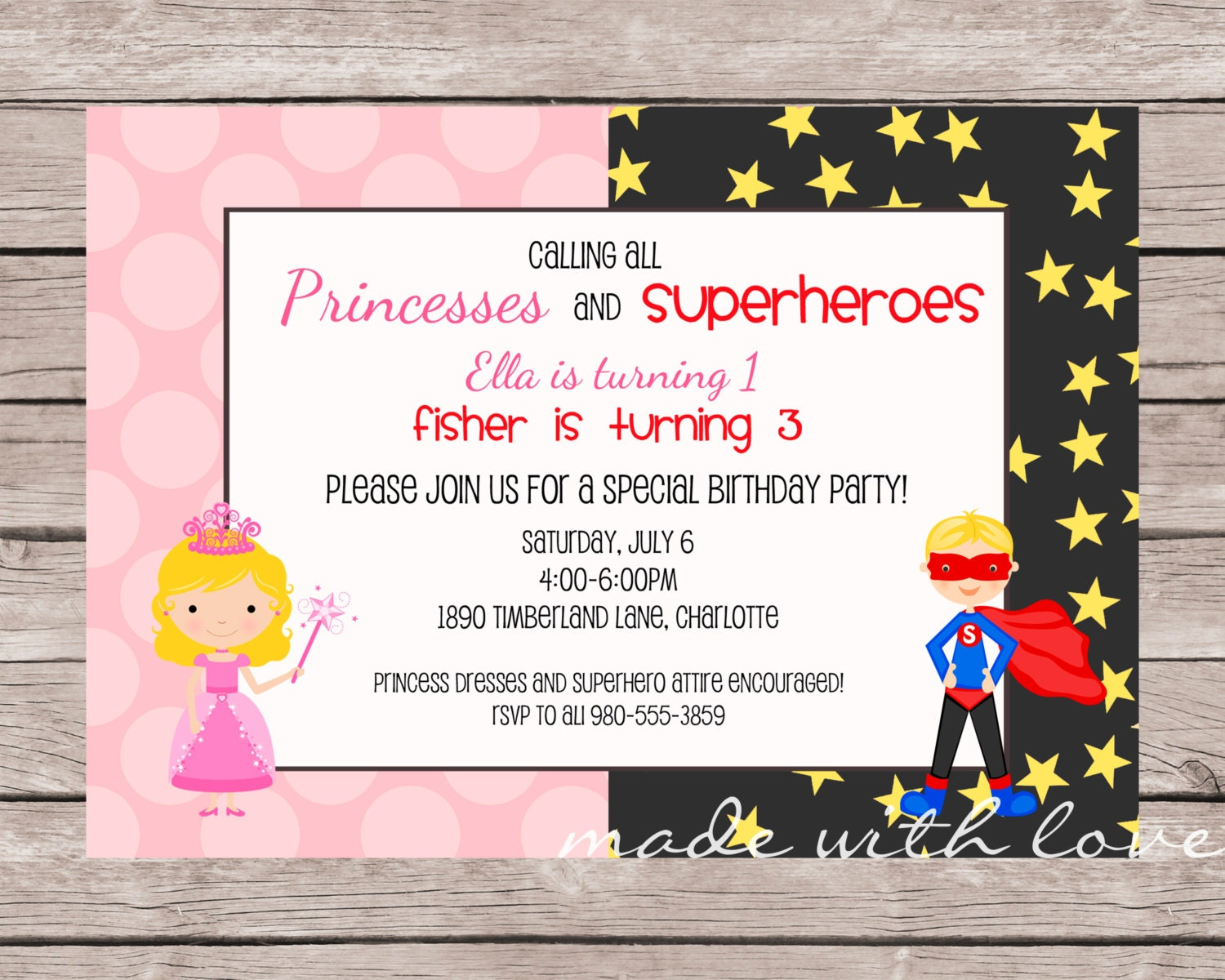 a princess and superhero birthday invitation personalized and