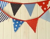SALE Fabric Bunting, Banner. NAUTICAL Theme. Blue, Red and Navy. Boys Room Decor, Nursery Decor, Baby Shower, Bys Gift.
