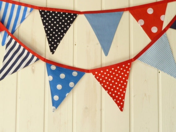 Items similar to sale fabric bunting banner nautical for Nautical nursery fabric