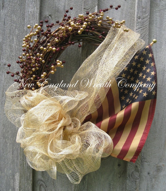 Americana Wreath, Patriotic Wreath, Fourth of July, Memorial Day, Veteran's Day, Military, Tea Stained Flag Wreath