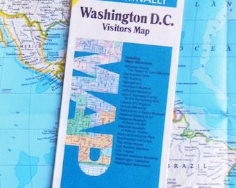 80s Visitors Map of Washington D. C.  -  Vintage Rand McNally  -  Full Color