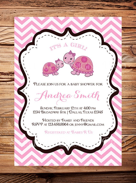 turtle baby shower invitation girl boy whimsical turtle, Baby shower invitations