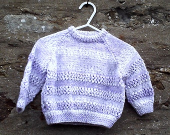 "Baby girls hand knitted purple and white multi coloured sweater. 20"" chest."