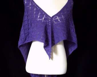 Hand knitted women's lacy purple triangular shawl / wrap. On Sale.