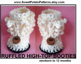 Instant Download PDF Crochet Pattern Baby Booties -  SPP-67A,  Age 1 to 5 yrs.