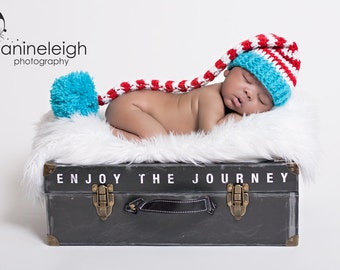 Newborn Striped Elf Hat, Newborn Elf Hat, Newborn Photo Prop, Red White and Blue Hat, Newborn Pom Pom Hat, Long Tail Hat, Stocking Cap