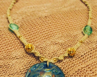Hemp Necklace with Large Beautiful Glass Blue Gold and Teal Pendant with Beautiful Beads