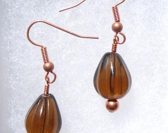 Sale Root Beer Brown Copper Bead Dangle Earrings