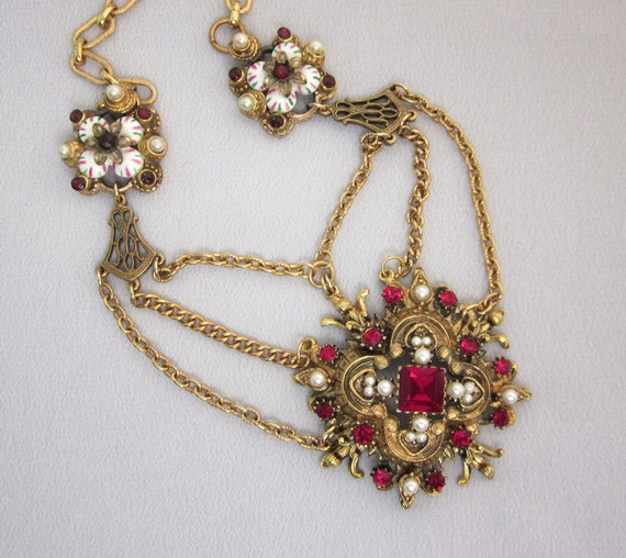Vintage Repurposed Ruby Red Rhinestone Necklace, Festoon Necklace, Pearls, Handmade OOAK Assemblage Jewelry JryenDesings