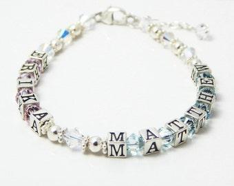 Mother's Name Bracelet, Mother and Child, Mother's Bracelet, Swarovski Crystal Bracelet, Sterling Silver Name Bracelet, Mom Mommy Bracelet
