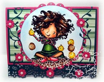 Handmade Greeting Card - Chloe and her peeps