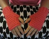 Bright Pink Crochet Kids Fingerless Gloves