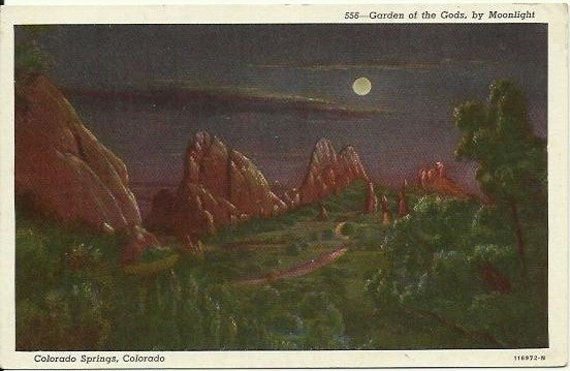 Vintage Linen Postcard - Night Scene - Garden of the Gods, by Moonlight Colorado Springs, Colorado 1940s