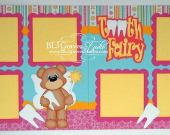 2 Premade Scrapbook PagesTooth Fairy Girl Bear 12x12 Layout Paper Piecing Handmade 048P